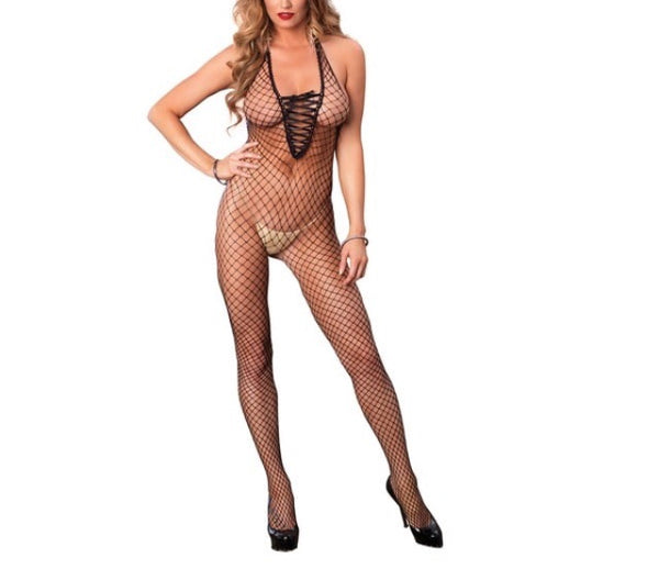 Halter fishnet body suit
