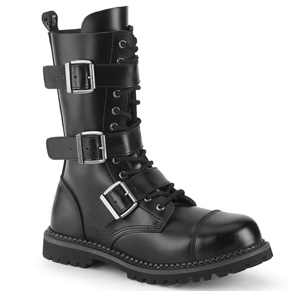Riot-12 Black Leather 12 Eyelet Steel Toe Ankle Boot