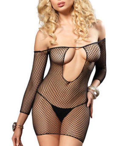 Key hole fish net mini dress