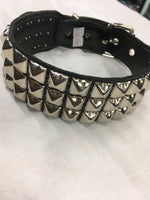 Load image into Gallery viewer, 3 Row Pyramid Leather Collar