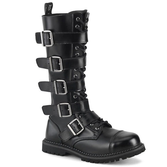 Riot-18 Black Leather 18 Eyelet Steel Toe Boot