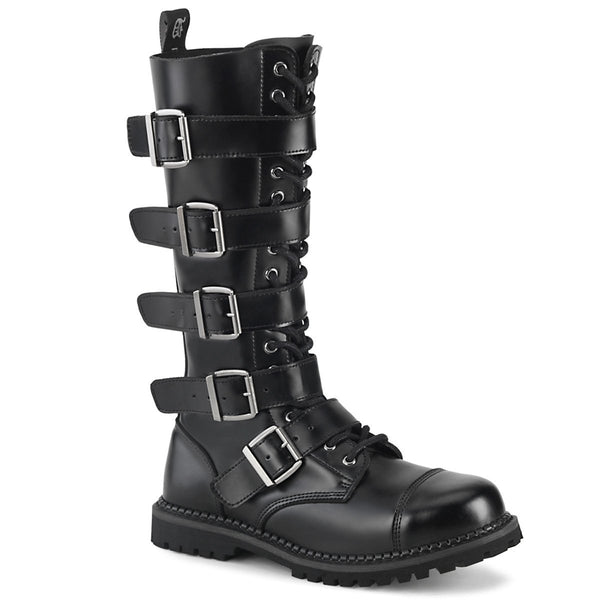 Riot-18 Black Leather 18 Eyelet Steel Toe Ankle Boot
