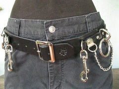 Black Leather 5 Ring Bondage Belt With Chain from Ape Leather