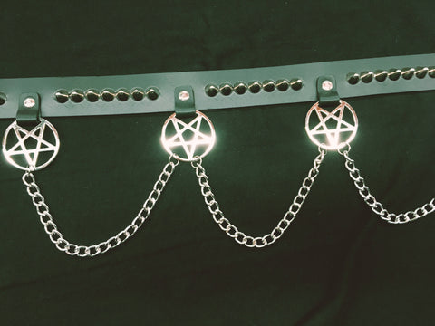Pentagram belt with cone studs and chain