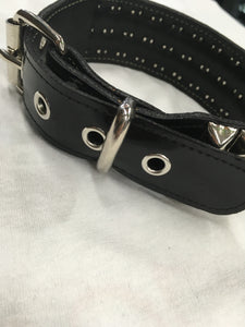 3 Row Pyramid Leather Collar