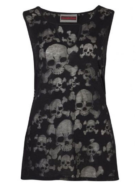 Burnout Skulls Gothic Vest Sheer Top (Jawbreaker)
