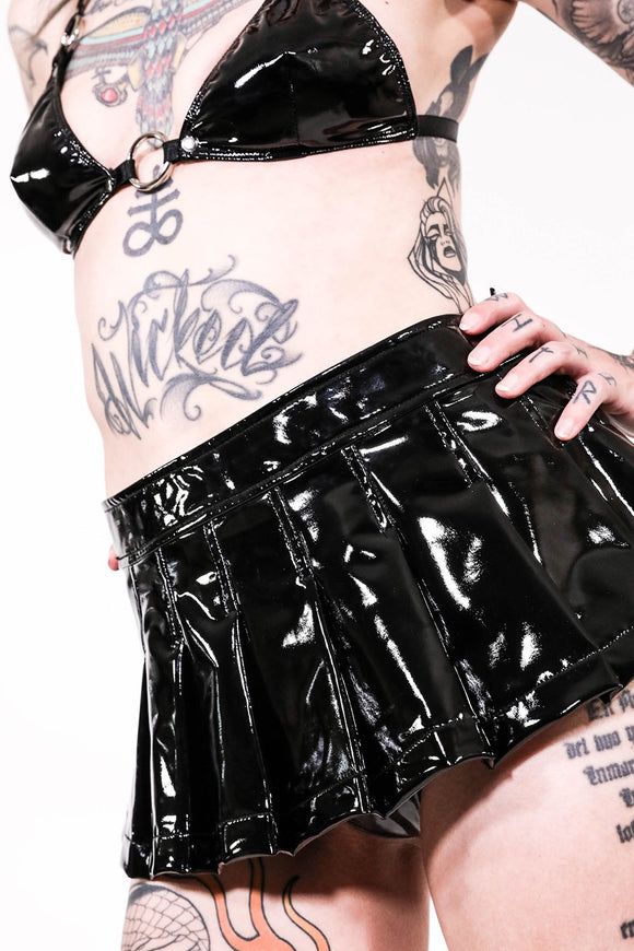 Pleated Micro Mini Skirt