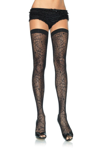 Spider Lace Thigh High Stockings with Elastic Top (Leg Avenue)