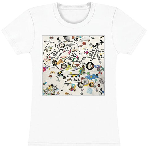 "Led Zeppelin ""III"" Women's WHITE T-Shirt"
