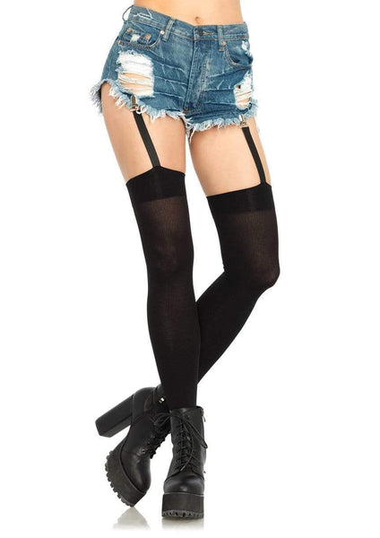 Attached Clip Garter Thigh Highs