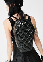 Load image into Gallery viewer, Lucy Quilted Glitter Spider Coffin Shaped Backpack