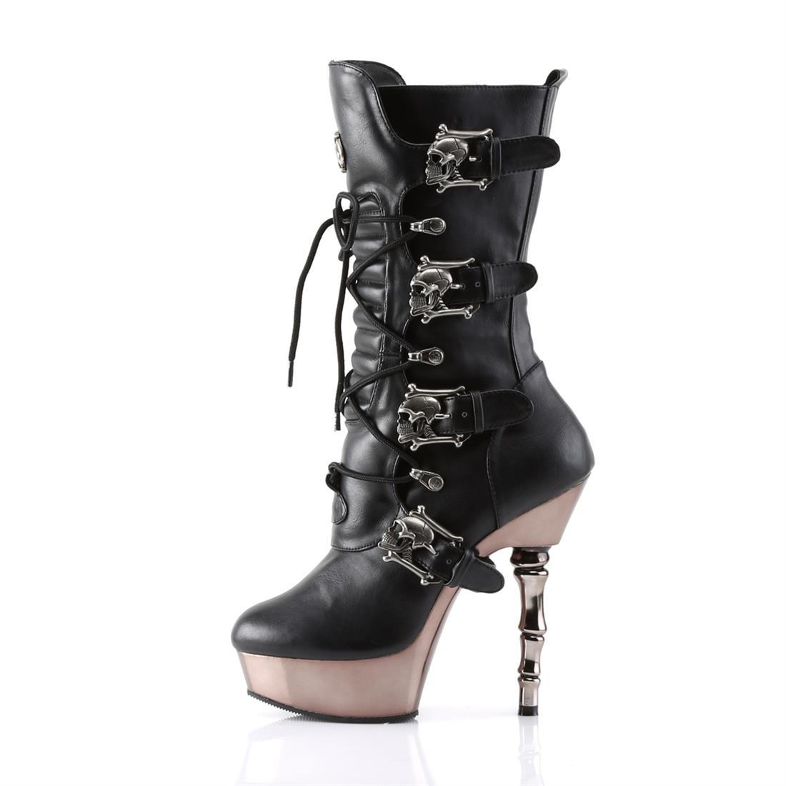"Muerto-1026 Vegan Leather 5 1/2"" Finger Bone Heel Boot"