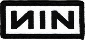 NIN Black Logo on White Background Patch