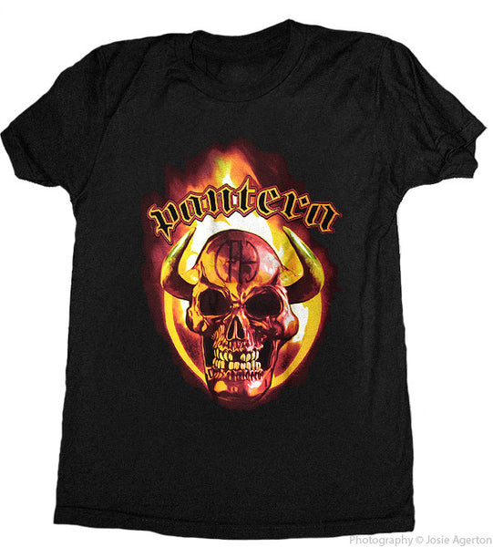 "Pantera ""Orange Horned Skull"" Men's Tee with Back Print"