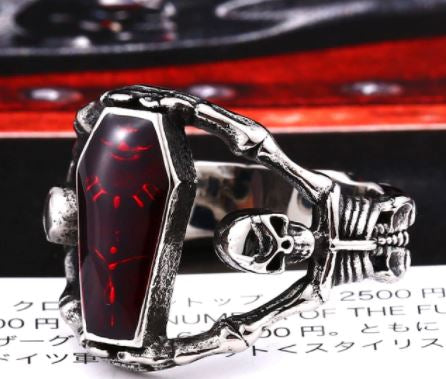 Gothic Red Skeleton Coffin Ring
