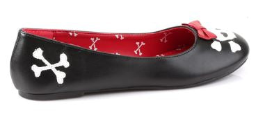 Punk-14 Vegan Leather Skull Bow Flats