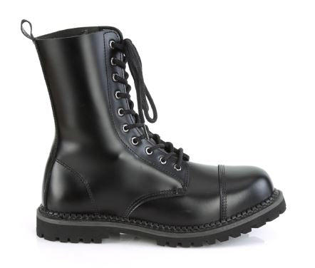 Riot-10 Real Leather 10 Eyelet Steel Toe Boot