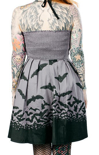 Sourpuss Spooksville Gray Bats Dress