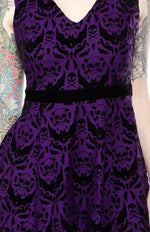 Load image into Gallery viewer, Spooky Purple Damask Dress
