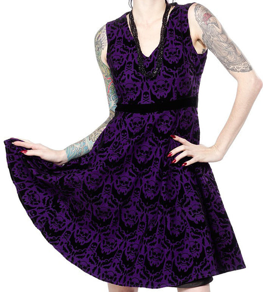 Sourpuss Spooky Purple Damask Dress