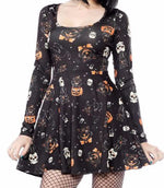 Load image into Gallery viewer, Cat Long Sleeve Skater Dress