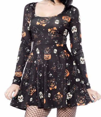Black Cat Long Sleeve Skater Dress