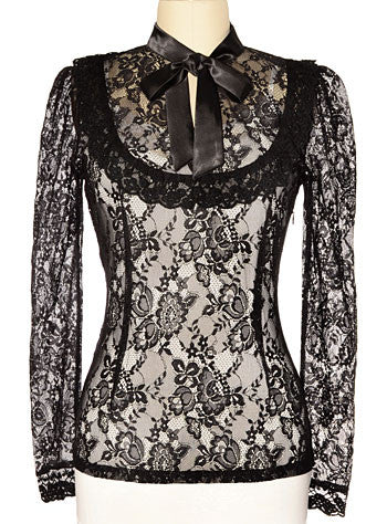 Dark Victoria Black Lace Steampunk Blouse (Jawbreaker)