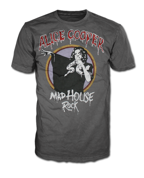 "Alice Cooper ""Mad House Rock"" Men's SOFT Charcoal Tee"