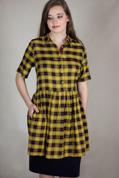 Plaid Shirt Dress In Mustard