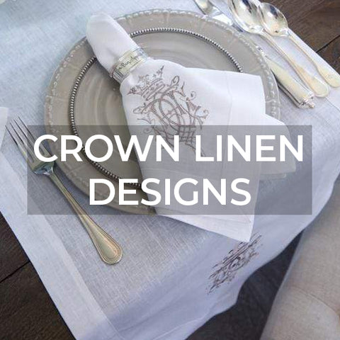 Link takes customer to a page of collections by Crown Linen Designs