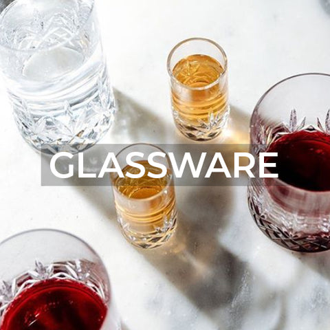 When clicked takes customer to a page of glassware product collections from Ruckl