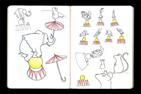 Drawings by Marcel Wanders for the Circus Collection by Alessi