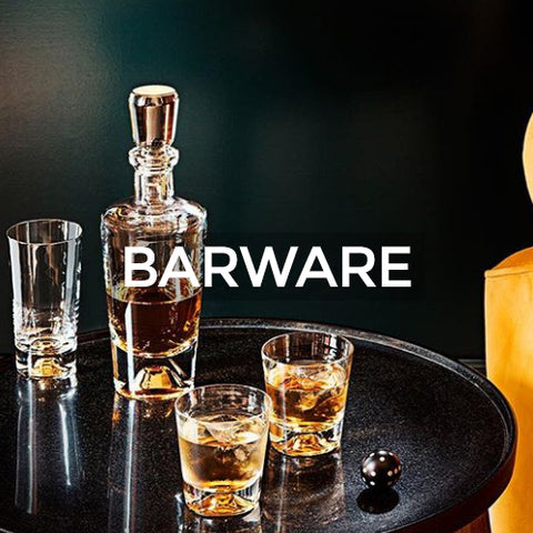 The image of glass barware with whiskey, when clicked takes you to a page of barware