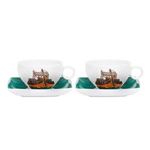 Alma do Porto Set of 2 Tea Cups & Saucers by Beatriz Lamanna for Vista Alegre