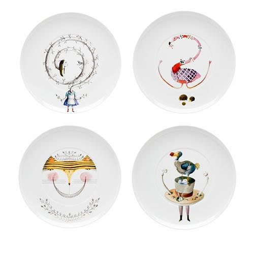 Tea with Alice Dessert Plates, Set of 4 by Teresa Lima for Vista Alegre