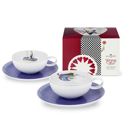 Tea with Alice Tea Cup & Saucer, Set of 2, by Teresa Lima for Vista Alegre