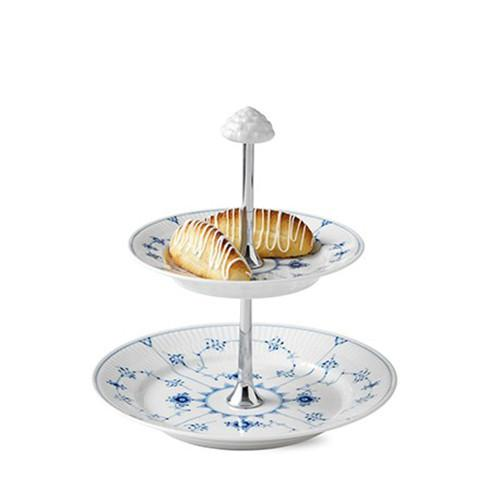 Blue Fluted Plain 2-Tier Etagere by Royal Copenhagen