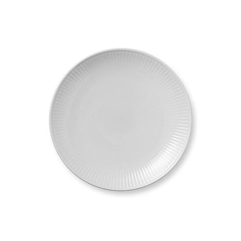 White Fluted Coupe Dessert Plate by Royal Copenhagen