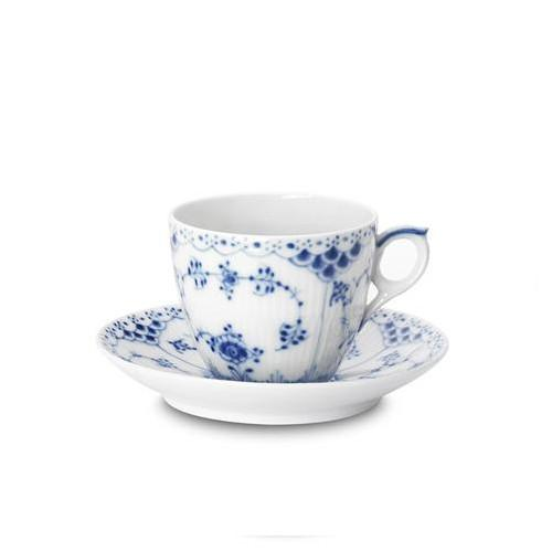 Blue Fluted Half Lace Coffee Cup & Saucer by Royal Copenhagen