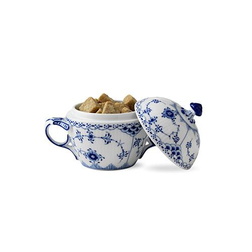 Blue Fluted Half Lace Sugar Bowl by Royal Copenhagen