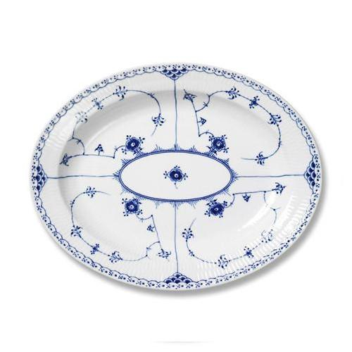 "Blue Fluted Half Lace Oval Platter, 14.25"" by Royal Copenhagen"