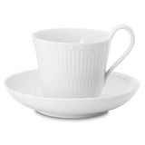 White Fluted Half Lace High Handle Cup & Saucer by Royal Copenhagen
