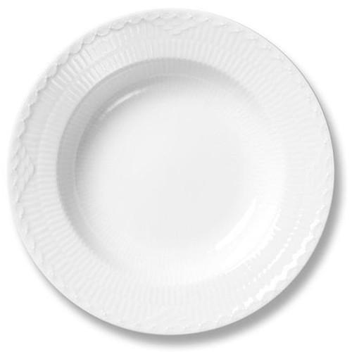 White Fluted Half Lace Rim Soup Plate by Royal Copenhagen