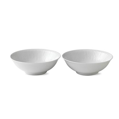 White Fluted Coupe Cereal Bowl, set of 2 by Royal Copenhagen