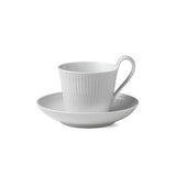 White Fluted High Handle Cup & Saucer by Royal Copenhagen