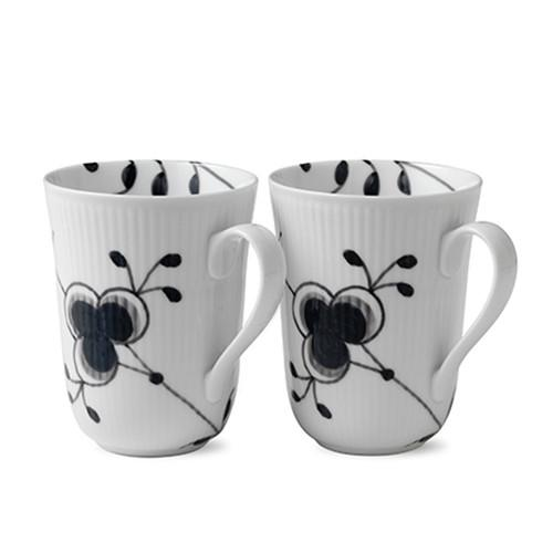 Black Fluted Mega Mug, set of 2 by Royal Copenhagen