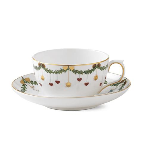 Star Fluted Christmas Teacup & Saucer by Royal Copenhagen