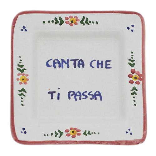 "Canta che ti passa - Sing and It Will Pass Small Tray, 5"" x 5"" by Abbiamo Tutto"