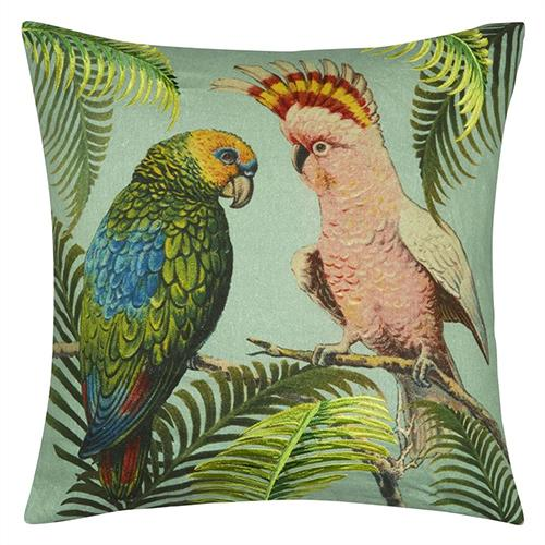 "Parrot and Palm Azure 20"" Square Pillow by John Derian"