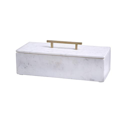 Agra White Marble Box with Lid by BIDK Home